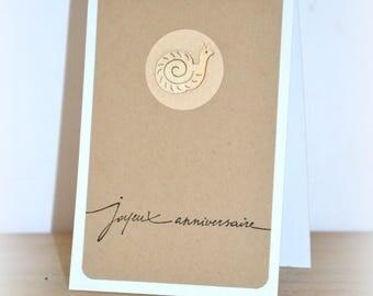 Happy birthday card handmade kraft, wooden snail