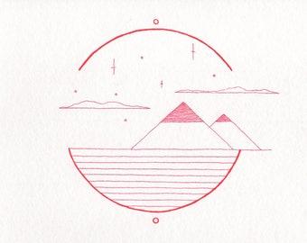 "Postcard, Felt Pen Illustration, Wall Decoration, Circle Design ""Desert"""