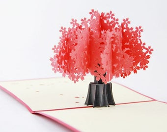 Handmade 3D pop up popup card red Sakura cherry blossom tree birthday Valentines mother's day Easter engagement wedding anniversary her card