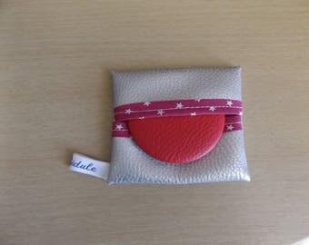 Fuchsia pink leatherette 3 Pocket mirror
