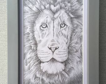 "Original lion sketch ""Meekness and Majesty"" with frame"
