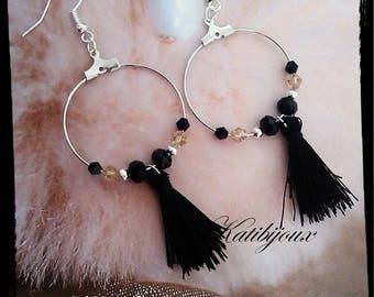 Black tassels for pierced earrings