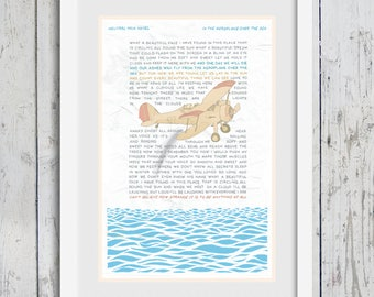 Neutral Milk Hotel - In The Aeroplane Over The Sea - Hand-Illustrated Song Lyrics | Poster Wall Art Print (11x17)