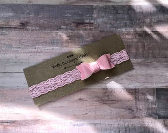 Soft pink bow headband, Band for Girls, Pink lace headband, pink bow, everyday wear, Photo prop, gift