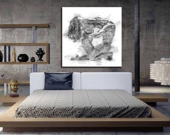 Interior Master Bedroom Wall Art master bedroom art etsy canvas his hers wall abstract print pencil sketch erotic