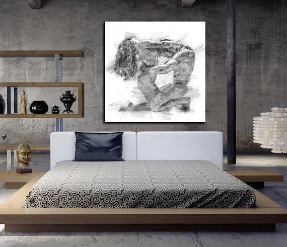 Bedroom Artwork Prints: CANVAS ART His & Hers Bedroom Wall Art Abstract Art Print