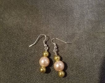 Gold and pink glass colored drop earrings