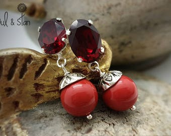 Glamorous Earrings red crystal rhinestones, dark red pearls