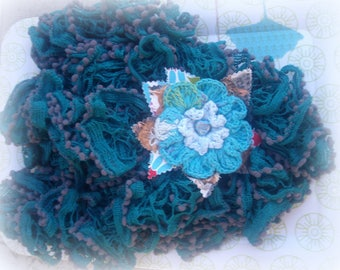 SCARF TASSEL blue/green and its TEXTILE BROOCH