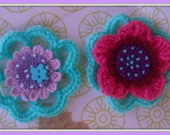SET of 2 flower pins... quite SMOOTHLY!