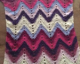 Baby blanket made in crochet in alpaca and silk