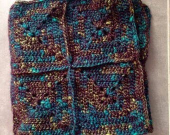 Plaid crocheted baby blanket