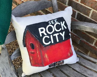 Rock City Birdhouse Pillow Cover
