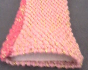 Pouch light pink and fuschia with gold thread