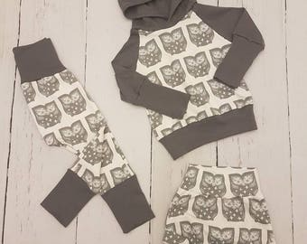 Owl Grow-with-me Set / Baby Clothes / Toddler Clothes / Kids Clothes / Pants / Baby Sweater / Toddler Sweater / Leggings / Joggers  / Pants