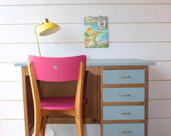 Box mid century desk and Chair pink.