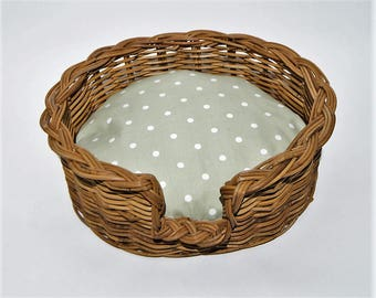 Traditional Wicker dog Basket with vintage style, polka dot cushion in green