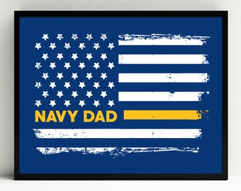 Navy Dad Art Print, Proud Navy Dad, Military Wall Art, American, US Flag, Decor