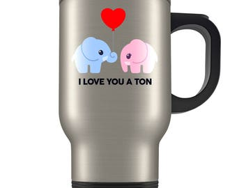 Cute Elephant Travel Mug - Blue and Pink Elephant In Love Coffee Cup - Funny I Love You a Ton - Great Gift For Animal Lovers