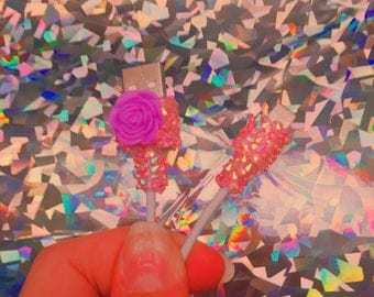Sparkly Apple Cord - Bling w/ Purple Floral