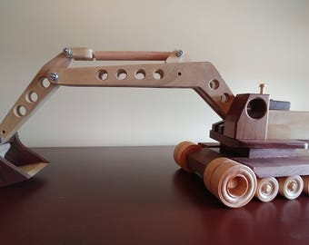 Handmade Wooden Excavator Truck Toy
