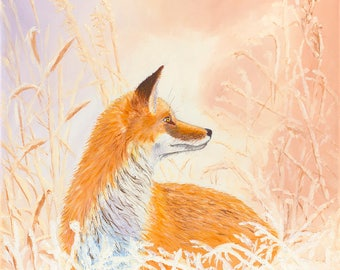 Winter Fox Original Oil Painting on Canvas