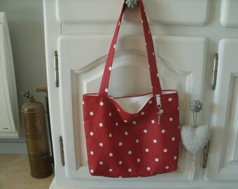 Red polka dots linen tote bag