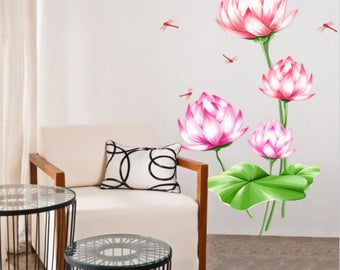 Wall decal, flower wall decal, flower sticker, kids room, bedroom, lotus flower, garden sticker, flower wall decals, lotus flowers, flower