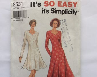 Simplicity 8531 dress pattern. Uncut, vintage 1993 size 8 - 18