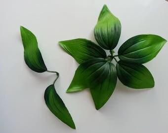 double feuille artificielle vertes pour creation de fleurs artificielles