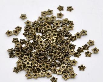 30 bead caps shaped beads bronze metal star