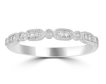 14K Gold diamond Stacking Ring Band with milgrain work in Round & Oval Shape,Made to order