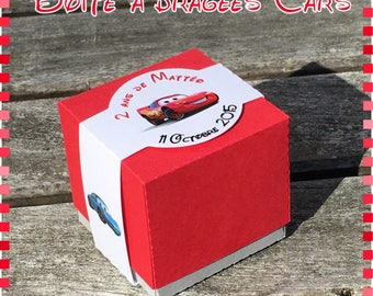 Cars boy baptism favors box