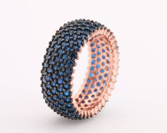 Band Ring! Handmade Turkish Special Blue Sapphire Zircon Jewelry 5 Lines 925 Sterling Silver Rose Gold Ring for Gift for Ladies All Sizes
