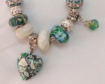 Love Garden Handmade Charm Bracelet  / Green love heart charm / Lampwork Murano Glass Beads / Anniversary or Birthday Gift for her