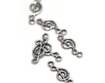 "10 charms ""music"", 20 x 8 mm, silver, A 030"