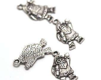 """10 charms """"noel"""", 23 x 12 mm, silver, A 059"""