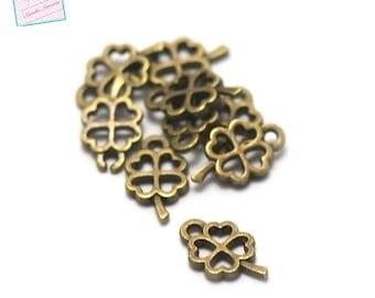 "50 charms ""flower four petal"", 10 x 6 mm, bronze"