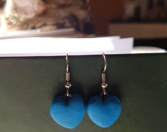 Dark blue heart earrings