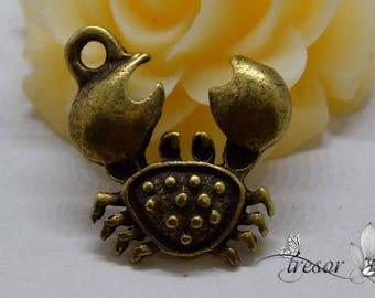 set of 8 QDW268 pendant, Metal, Bronze, crab