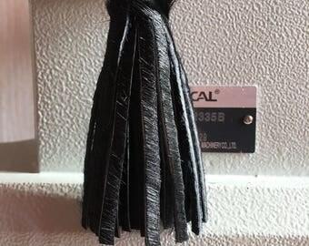 Leather tassel black fur tassel keychain