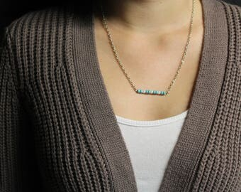 Teal and White Bar Necklace