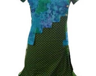 Indian kurti dual print patchwork and side pleats
