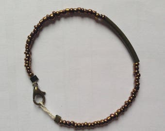Bracelet bronze seed bead and bronze clasp