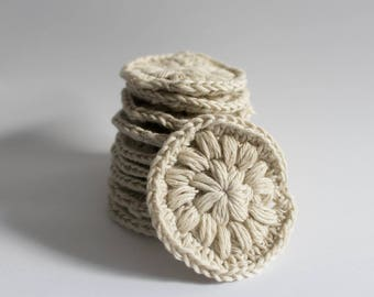 Reusable, organic cotton makeup remover pads (pack of 10) OFF WHITE