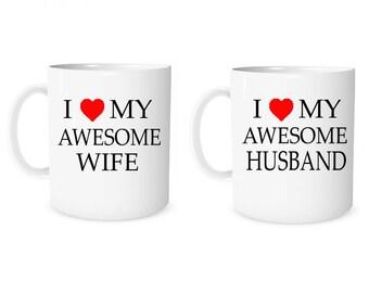 Custom Mug Personalized Mug I Love My Awesome Wife I Love My Awesome Husband Mug  Coffee Mug Husband & Wife Mug Anniversary Mug Wedding Mug
