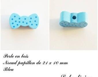 Wood 21 x 10 mm bead, Pearl flat bow tie: Blue