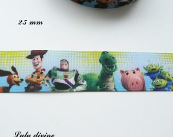 Ribbon grosgrain background & blue Toy Story, Woody, Buzz Lightyear 25 mm sold by 50 cm