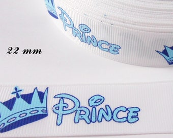 White grosgrain Ribbon written Prince & Crown blue 22 mm sold by 50 cm
