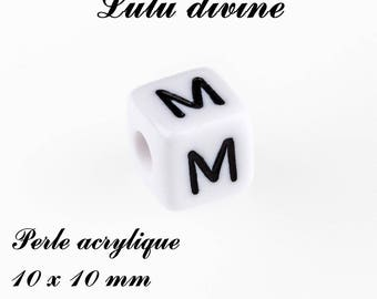 Alphabetical 10 x 10 mm white acrylic bead: letter M (set of 10)